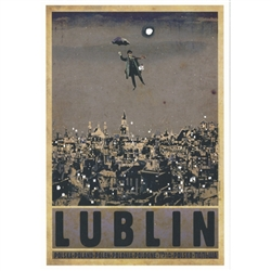 "Post Card: Lublin, Polish Promotion Poster designed by artist Ryszard Kaja. It has now been turned into a post card size 4.75"" x 6.75"" - 12cm x 17cm."