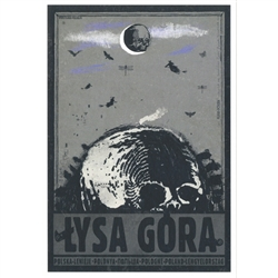 "Post Card: Lysa Gora, Polish Promotion Poster designed by artist Ryszard Kaja. It has now been turned into a post card size 4.75"" x 6.75"" - 12cm x 17cm."