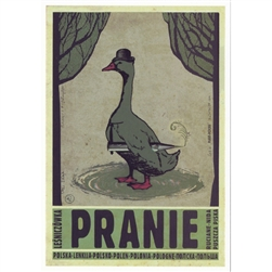 "Post Card: Pranie, Polish Promotion Poster  designed by artist Ryszard Kaja. It has now been turned into a post card size 4.75"" x 6.75"" - 12cm x 17cm."