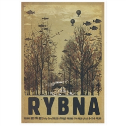 "Post Card: Rybna Palace, Polish Promotion Poster designed by artist Ryszard Kaja. It has now been turned into a post card size 4.75"" x 6.75"" - 12cm x 17cm."