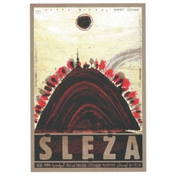 "Post Card: Sleza, Zobtenberg, Polish Tourist Poster designed by artist Ryszard Kaja. It has now been turned into a post card size 4.75"" x 6.75"" - 12cm x 17cm."