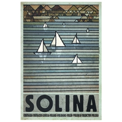 "Post Card: Solina, Polish Promotion Poster designed by artist Ryszard Kaja. It has now been turned into a post card size 4.75"" x 6.75"" - 12cm x 17cm."