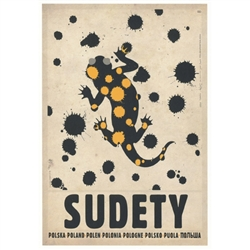 "Post Card: Sudety, Salamandra, Polish Promotion Poster  designed by artist Ryszard Kaja. It has now been turned into a post card size 4.75"" x 6.75"" - 12cm x 17cm."