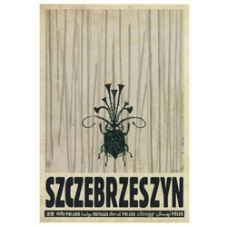 "Szczebrzeszyn, Polish Promotion Poster designed by artist Ryszard Kaja. It has now been turned into a post card size 4.75"" x 6.75"" - 12cm x 17cm."