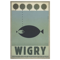 "Post Card: Wigry, Polish Promotion Poster designed by artist Ryszard Post Card: Kaja. It has now been turned into a post card size 4.75"" x 6.75"" - 12cm x 17cm."