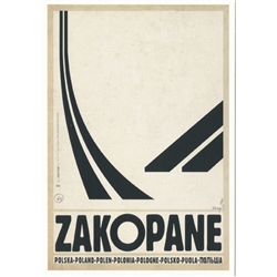 "Zakopane, Polish Promotion Poster  designed by artist Ryszard Post Card: Kaja. It has now been turned into a post card size 4.75"" x 6.75"" - 12cm x 17cm."