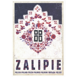 "Zalipie, Village of Flowers, Polish Promotion Poster designed by artist Ryszard Post Card: Kaja. It has now been turned into a post card size 4.75"" x 6.75"" - 12cm x 17cm."
