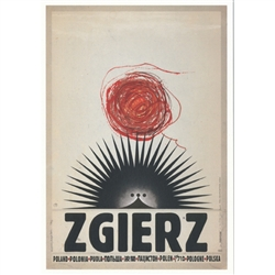 "Zgierz, Polish Promotion Poster designed by artist Ryszard Post Card: Kaja. It has now been turned into a post card size 4.75"" x 6.75"" - 12cm x 17cm."