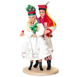The Krakow costume is considered to be Poland's national folk costume and is certainly the best known. This is the wedding version of this famous costume. Perfect gift for showers, weddings, dance group members  or just to share or display your Polish her