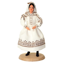 This costume is from the area in southeastern Poland in the Sandomierz basin which is situated between the San and Vistula rivers. These dolls are perfect, clothed in authentic regional folk costumes, as certified by the Polish Ministry of Culture. These