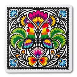 Colorful Wycinanki rooster motif on a mouse pad. This is a flexible, soft, rubber composite mouse pad with a non skid back.