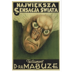 "Post Card: Testament of Dr Mabuze, Polish Movie Poster designed by Paul Scheurich in 1933. It has now been turned into a post card size 4.75"" x 6.75"" - 12cm x 17cm."