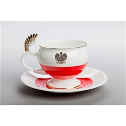 For the person who has everything and certainly tea cup collectors! Polish Husar luxury handmade porcelain cup and saucer set. This unique cup and saucer in the Polish colors of white and red and featuring a golden eagle can become a unique gift for your