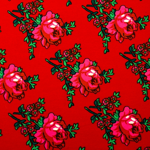 "Flowered Material 60"" Wide ""Tybet"" Red"