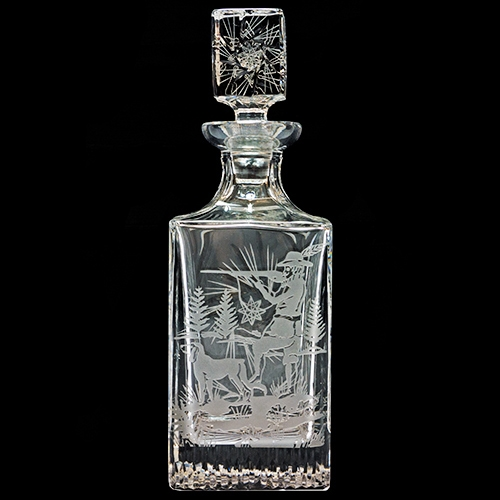 Polish Art Center - Polish Starburst Cut Crystal Hunter Decanter - .75 Liter