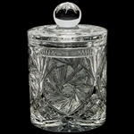 Lovely covered canister style jar. This is genuine Polish lead crystal hand cut with a star burst design.