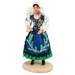 The Piotrkow maiden come from the area in central Poland near the city of Piotrkow Trybunalski.  Whether you're adding to a collection or just starting one out. These dolls are perfect, clothed in authentic regional folk costumes, as certified by the Poli