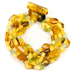 Bozena Przytocka is a designer of artistic amber jewelry based in Gdansk, Poland. Here is a beautiful example of her ability to blend amber, peridot and aquamarine to create a stunning 6 strand bracelet.