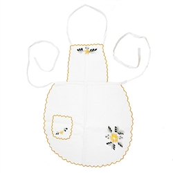 "Women's Kashubian Floral Apron, in white cotton with hand embroidery. Front panel has a 4"" x 5"" (10cm x 13cm) pocket."