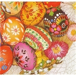 Celebrate the Easter season with these beautiful napkins. These original designs will make any table festive with their beautiful eggs.. Three ply napkins with water based paints used in the printing process.