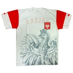 Display your Polish heritage with this very stylish Polish Eagle t-shirt.  Features the Polish flag on each sleeve and the word