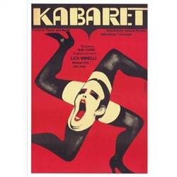"Post Card: Kabaret - Cabaret, Polish Movie Poster designed by Wiktor Gorka in 1973. It has now been turned into a post card size 4.75"" x 6.75"" - 12cm x 17cm."