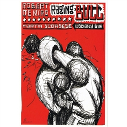 "Post Card: Raging Bull, Scorsese, Polish Poster designed by Leszek Zebrowski  in 2010. It has now been turned into a post card size 4.75"" x 6.75"" - 12cm x 17cm."