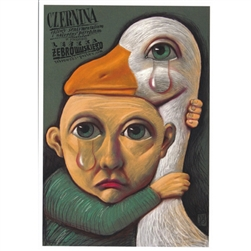 "Post Card:  Czernina, Polish Exhibition Poster designed by Leszek Zebrowski  in 2008. It has now been turned into a post card size 4.75"" x 6.75"" - 12cm x 17cm."