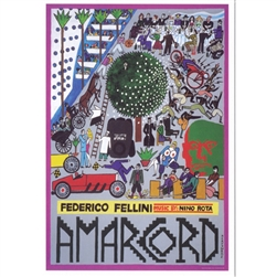 "Post Card: Amarcord, Fellini, Polish Poster designed by Andrzej Krajewski in 2011. It has now been turned into a post card size 4.75"" x 6.75"" - 12cm x 17cm."