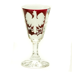 Crystal stem shot glasses decorated on the front side with an engaved Polish Eagle and the word Polska on a ruby red background. Reverse side features a cut star burst design. Boxed set of 2.