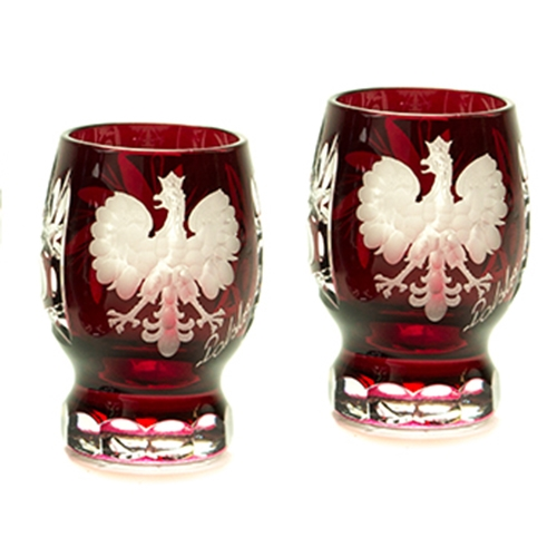 Polish Art Center Crystal Footed Engraved Ruby Shot Glasses Set Of 2
