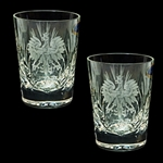 Genuine brilliant Polish 24% lead crystal hand cut with an engraved Polish Eagle and the word Polska on the front and a woven pattern on the reverse. Boxed set of 2.