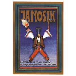 "Post Card: Janosik, Polish Poster by Andrzej Krajewski in 1974.  It has now been turned into a post card size 4.75"" x 6.75"" - 12cm x 17cm."