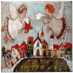 This charming artistic wall tile will surely brighten up your kitchen. The unique artwork on this wall hanging tile will make for an excellent gift. Featuring the art work of Polish artist Dominika Stawarz-Burska from Bochnia, Poland. This high quality wa