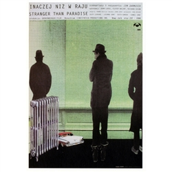 "Stranger Than Paradise, Polish Movie Poster designed by artist Andrzej Klimowski . It has now been turned into a post card size 4.75"" x 6.75"" - 12cm x 17cm."