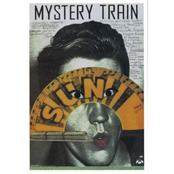 "Post Card: Mystery Train, Polish Movie Poster designed by artist Andrzej Klimowski . It has now been turned into a post card size 4.75"" x 6.75"" - 12cm x 17cm."