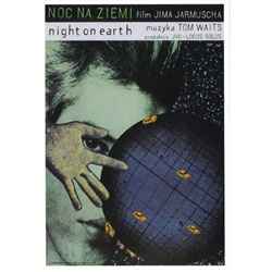 "Post Card: Night on Earth, Polish Movie Poster designed by artist Andrzej Klimowski . It has now been turned into a post card size 4.75"" x 6.75"" - 12cm x 17cm."