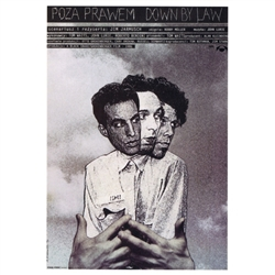 "Post Card: Down By Law, Polish Movie Poster designed by artist Andrzej Klimowski . It has now been turned into a post card size 4.75"" x 6.75"" - 12cm x 17cm."