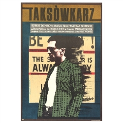 "Post Card: Taxi Driver, Polish Movie Poster designed by artist Andrzej Klimowski . It has now been turned into a post card size 4.75"" x 6.75"" - 12cm x 17cm."