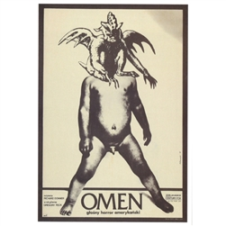 "Post Card: The Omen, Polish Movie Poster designed by artist Andrzej Klimowski . It has now been turned into a post card size 4.75"" x 6.75"" - 12cm x 17cm."