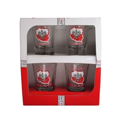 A set of four shot glasses decorated with the Polish eagle on the map of Poland. Polska and Poland inscriptions above and below the eagle. The set is packed in a decorative and sturdy gift box featuring the Polish national colors, red and white.