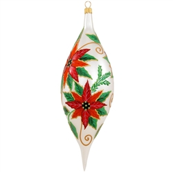 Smooth and reflective glazes combine with a variety of eye-catching colors to create the pretty poinsettia that is this ornament's alluring focal point. Masterfully crafted in Poland with gorgeous hand-painted glazes and shimmering glitter accents, this e
