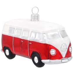 "It's hard to curb our enthusiasm for this classic Volkswagen bus! With a glossy red finish and shimmering accents of chrome, this attractive VW Bus makes a groovy gift for any Volkswagen owner or enthusiast! This 2"" x 4"" glass ornament is expertly crafted"