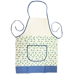 "Attractive Polish Stoneware Apron. . This is a traditional Boleslawiec pattern. Front panel has a 9.5"" x 5.5"" (24cm x 14cm) pocket. This design has blue, yellow and green highlights.  100% polyester."