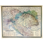 Reprint of an original map of the Austrian-Hungarian Empire and including parts of Germany and Italy.  Features the names of large cities and regions only.  Color details.  Perfect for framing or display.
