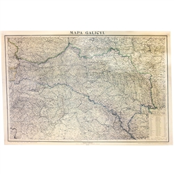 Reprint of a 19th Century highly detailed map of Galicia which was part of the Austrian-Hungarian Empire and encompassed parts of present day Poland and the Ukraine. This map shows the borders between Prussia, Russia and Austria