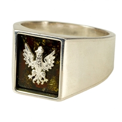 Elegant men's signet Men's ring with the Polish Eagle made of highly polished 925 Sterling Silver and cognac colored natural Baltic amber.