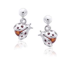Ladybug Honey Amber Dangle Stud Earrings