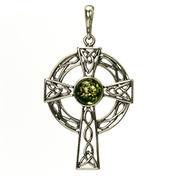 Green Amber Celtic Cross Pendant