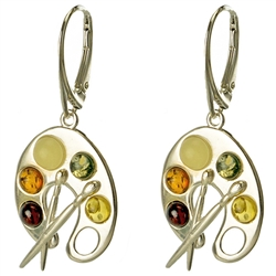 Painter's Palette Amber Earrings